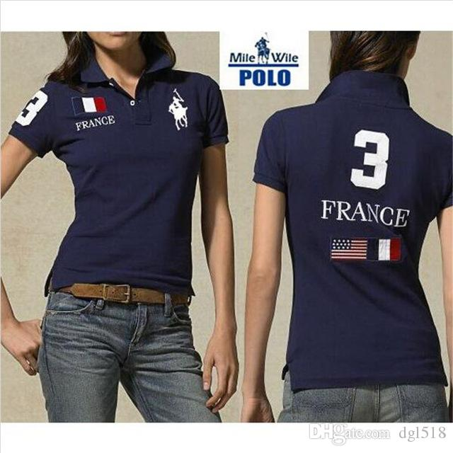 2016 European Women Brand Polo Shirts UK France USA Flag Embroidery Short  Sleeve Cotton Slim Fit Lady Shirts T Sirt T Shirt Sites From Dgl518 5f9c3fc778