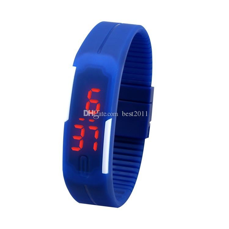 2015 2016 2017 Deportes rectángulo led Digital Display pantalla táctil relojes Correa de caucho pulseras de silicona Relojes de pulsera 2015