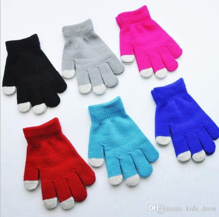 Kids Touch Screen Gloves Knitted Cute Children Accessories Gloves