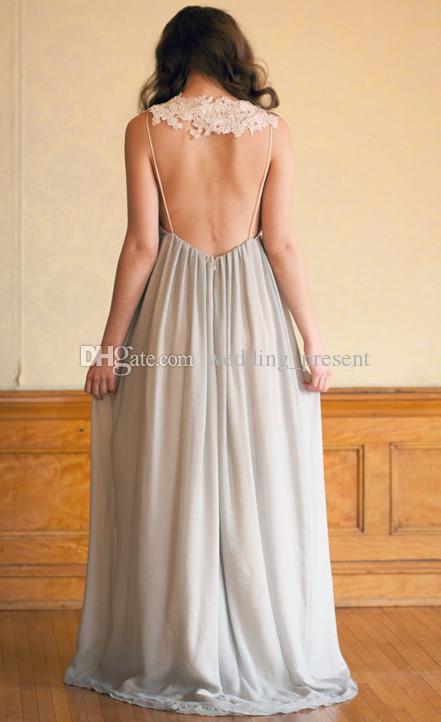 2016 A-Line Profundo Decote Em V Chiffon Vestido de Noite Sem Encosto Até O Chão Vestidos de Baile Custom Made Formal Ocasião Vestidos