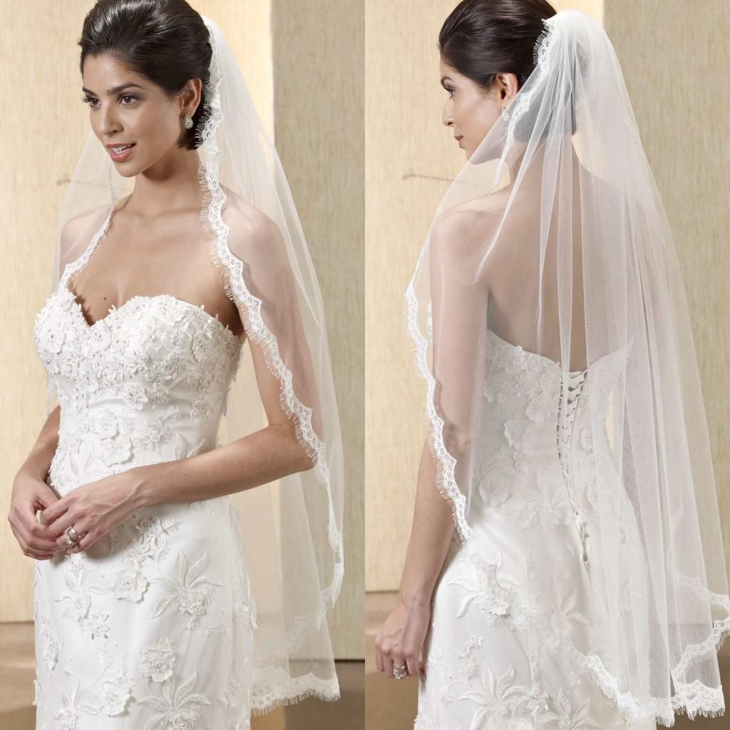 Newest Gorgeous Mantilla Wedding Veil One Layer Ruffled Lace Edge Fingertip Length Bridal Veils With Comb Short Bride From Weddingfactory
