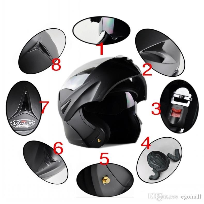 Neu mit innerer Sonnenblende flip up Motorrad Helm Sicherheit doppelte Linse Winter Rennen Motos Helm dot genehmigt capacete