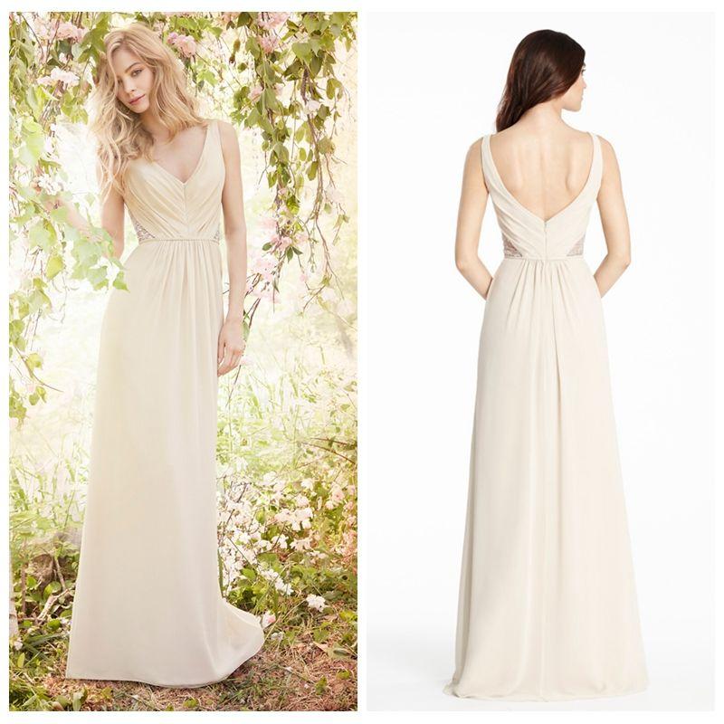 Light Champange Bridesmaid Dresses Long Chiffon V Neck Strap ...