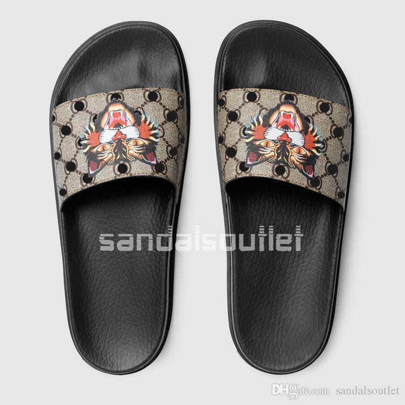 NEW HOT Trend brand 2017 mens printed tiger and Moulded rubber footbed slide sandals slippers fashion causal Trek flip flops