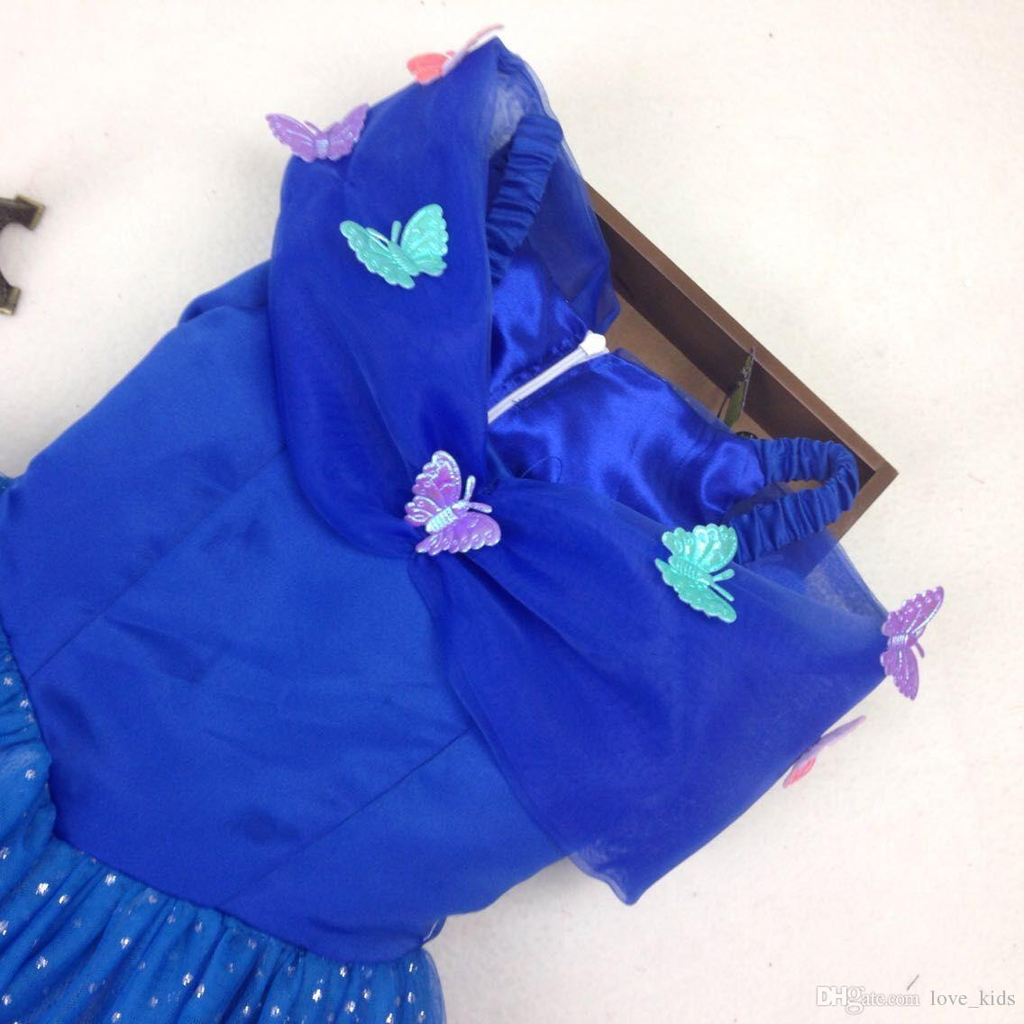 Mädchen Ballkleid Cinderella Mädchen Spitze Party Kleider neue Baby Mädchen Abendkleid Kinder Punkte Tutu Röcke mit Schmetterling Kinder Kleidung
