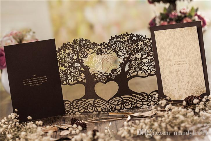 Luxury Laser Cut Wedding Invitation Cards Coffee Wedding