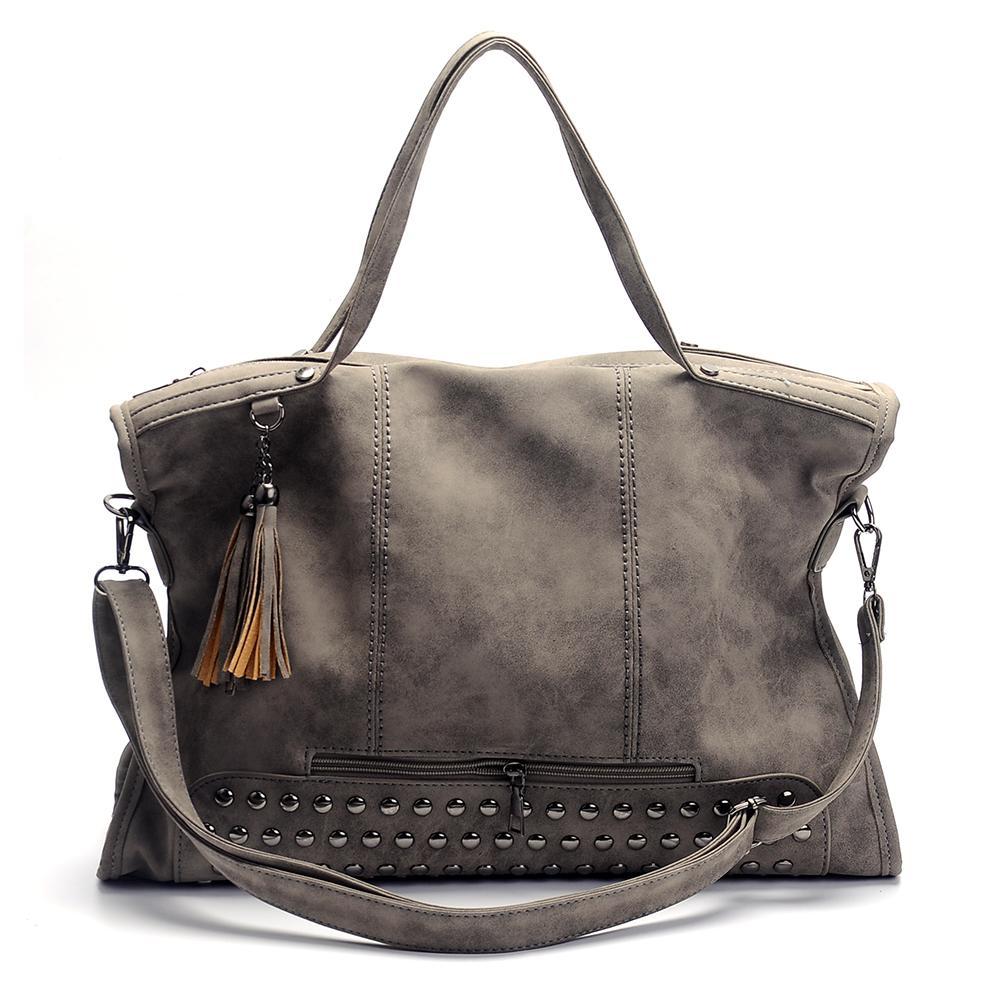 Bolso de borla de cuero de imitación al por mayor en blanco bolsa de asas gris con monedero de regalo de dama de honor Reviet en es envío gratis DOM106747