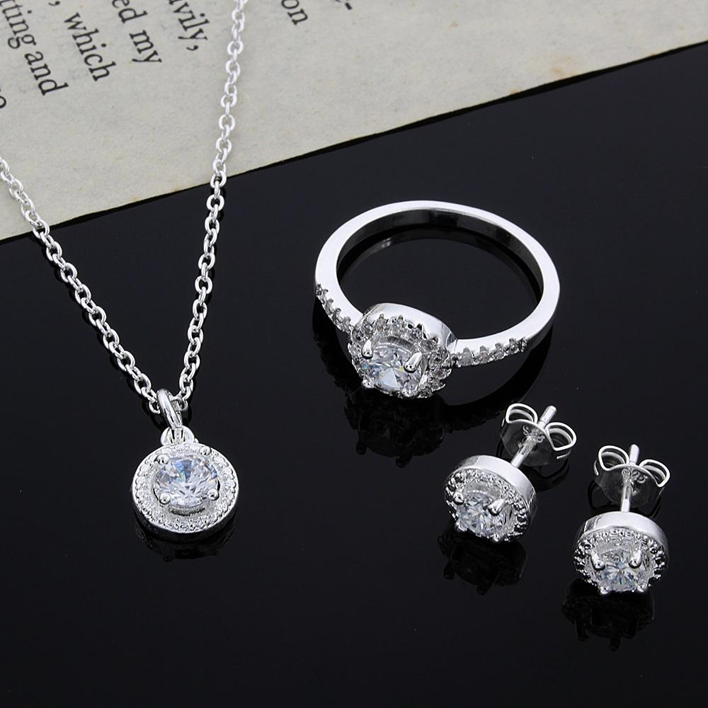 380d94e1b2b5f 2015 new design 925 Sterling Silver CZ Diamond Necklace & Ring & Earrings  Set Fashion Jewelry wedding gift for woman free shipping