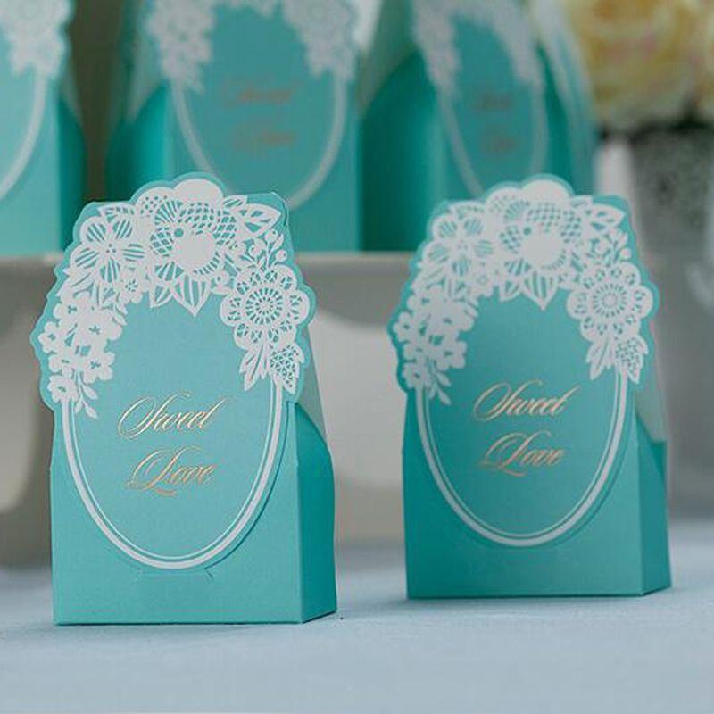 Vintage Wedding Candy Box Blue Gorgeous Wedding Party Favor Cajas de regalo Bolsa de papel cortada con láser Chocolate dulce Favor Embalaje