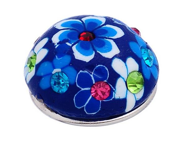 #27 dark blue background with blue white flower pattern and drill clay about 5.5mm DIY round buttons 18mm snap button noosa button diy
