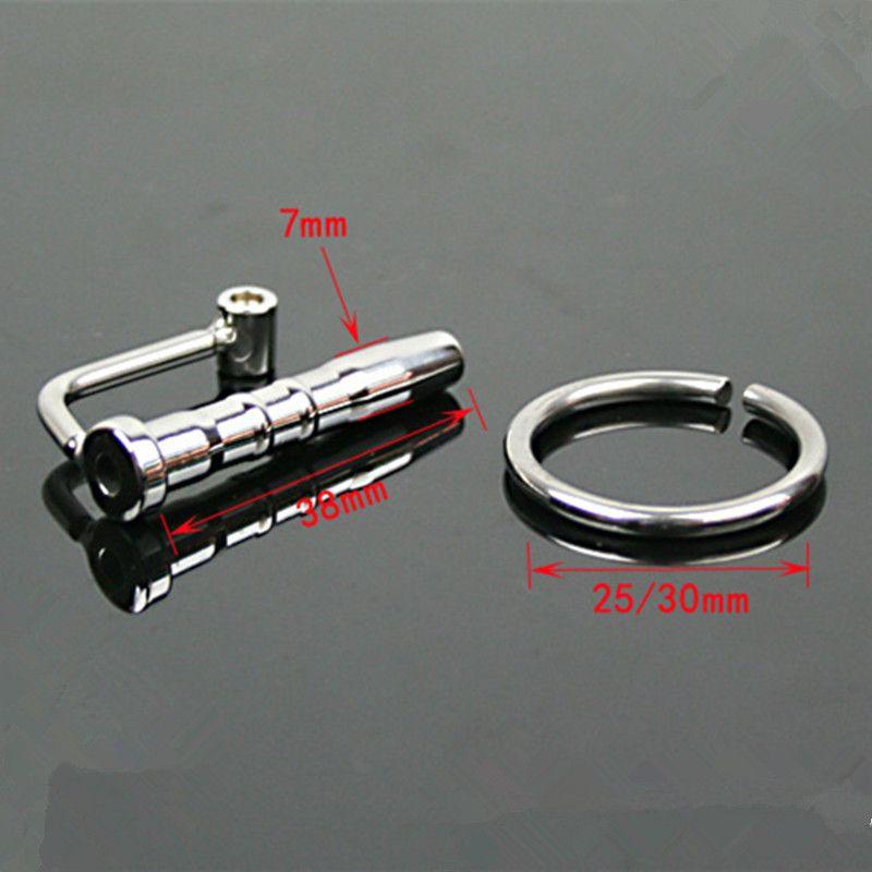 7 * 38 mm catéter de acero inoxidable suena pene Plug Uretral Dilators sonido uretral Prince Wand juguete del sexo para hombres 025