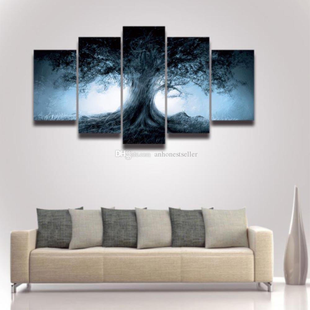 2018 5 Panel Canvas Wall Art Dark Tree Scenery Painting Hd Prints ...