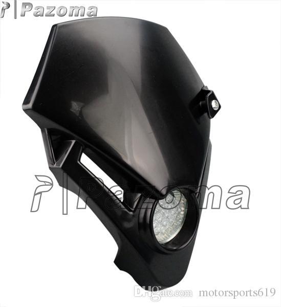PAZOMA Motorcross Motorcycle Headlight Head Lamp Black