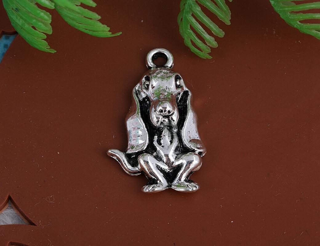 Vintage Silver Long Ear Dog Charms Pendants For Women Dress Bracelet Necklace Fashion Jewelry Making Girls Bijoux Accessories A21
