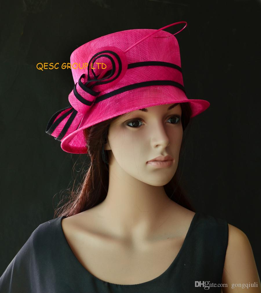 Fuchsia black Small Brim Sinamay Hat Church Hat for Wedding 9619803b8dd