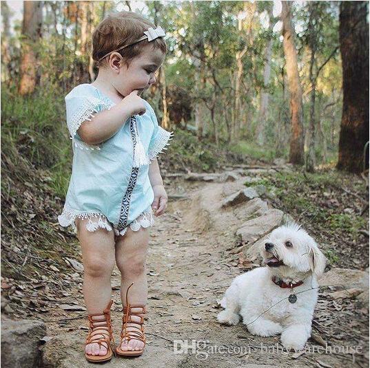 Cute Baby Girl Strampler 2018 Neugeborenes Baby Kleidung Mädchen hellblau Quaste Overall Strampler Outfits Kleinkind Mädchen Kleidung Sunsuit 0-24M