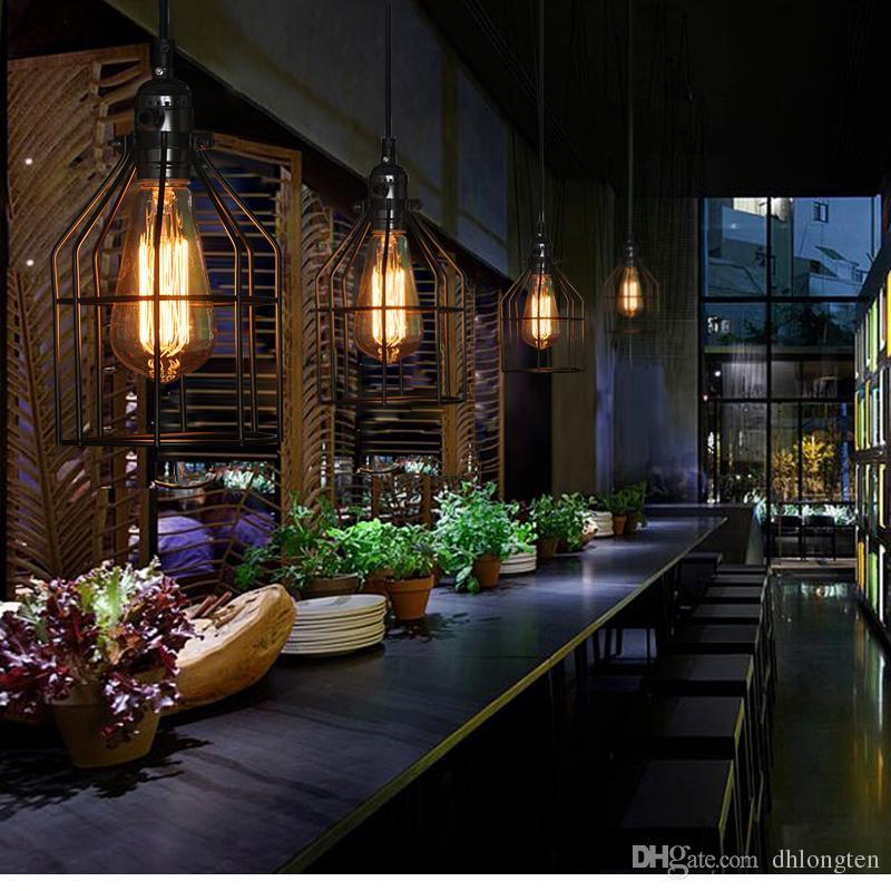Yeni loft vintage Demir kolye lamba Amerikan country retro avize restoran bar lambası ücretsiz kargo