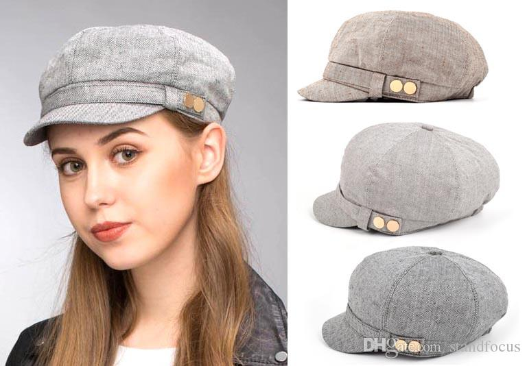 da7763b4 2019 Stand Focus Baker Boy Cabbie Gatsby Women Hat Newsboy Cap Ladies  Fashion Cotton Linen Herringbone Fabric Spring Summer Fall Double Studs  From ...