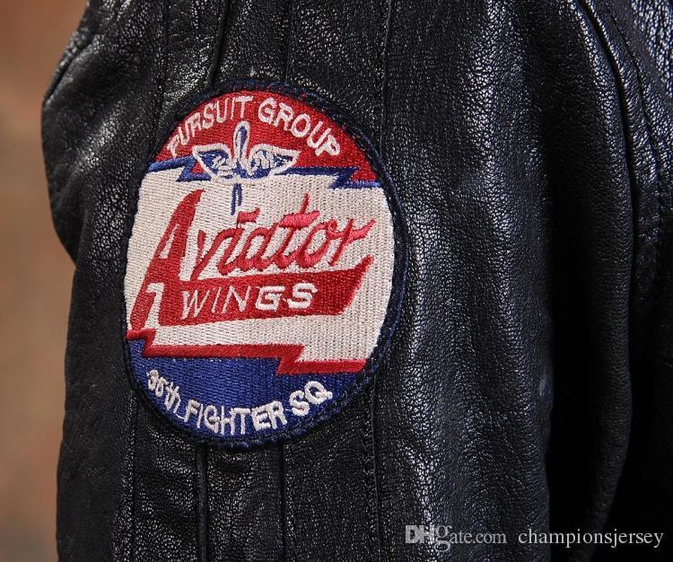 AVIREX AERONAUTICS homem jaqueta de couro genuíno com camada superior de couro de bezerro motocicleta terno masculino Multi Logo