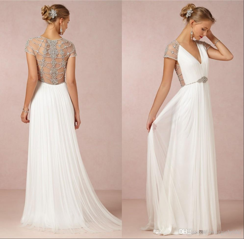 Discount Luxury V Neck White Simple Wedding Dress Sheer Sexy Back ...