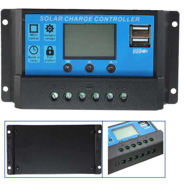 New Design Intelligent Home Auto 20A 12V-24V LCD Display USB Solar Panel Regulator Automatic Charge Controller