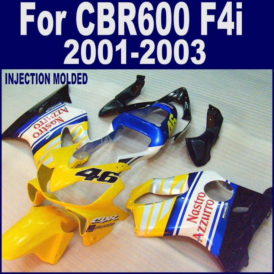 100 ٪ حقن صب تخصيص ل HONDA CBR 600 F4i fairings 01 02 03 CBR600 F4i 2001 2002 2003 برتقالي فضة مخصص fairing BOXD