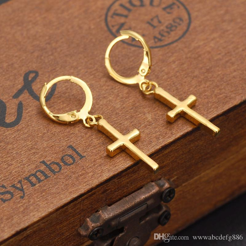 Exclusive Special Design Christian Vogue Womens True Real 14K Solid Fine Yellow Gold GF Crucifix Cross Timeless Charm Earrings