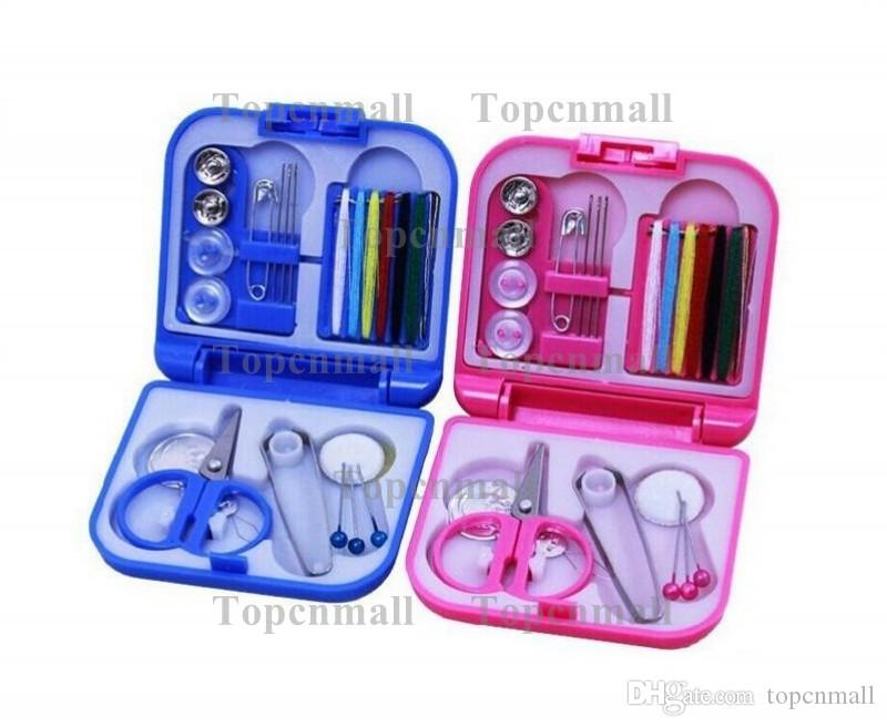 Portable Travel Sewing Kit Thread Needles Mini Plastic Case Scissors Tape Pins Thread Threader Set Home Sewing Tools TPML-0102