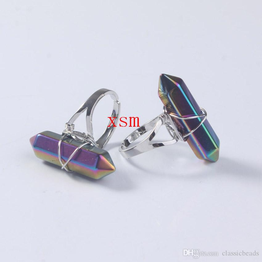 Promotion Women Ring,Natural Full Colour Hexagon Prism Crystal Ring For Women And Men Jewelry Fit Wedding Ring Free Shiping