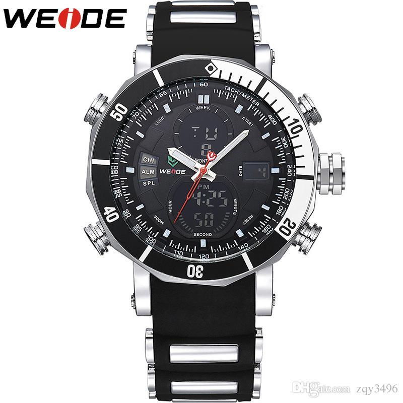 d889cf9eaf48 Compre WEIDE Cuarzo Reloj Digital Hombres Relojes Deportivos Impermeable  Alarma Militar Cronómetro Zonas Horarias Nuevas Relogios Masculinos A   23.69 Del ...