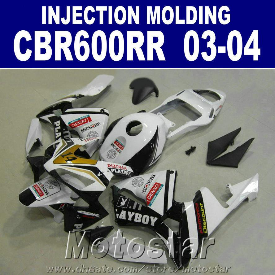 Injection Molding ABS plastic for HONDA CBR 600RR fairing 2003 2004 white black 03 04 cbr600rr custom fairing YQ3C