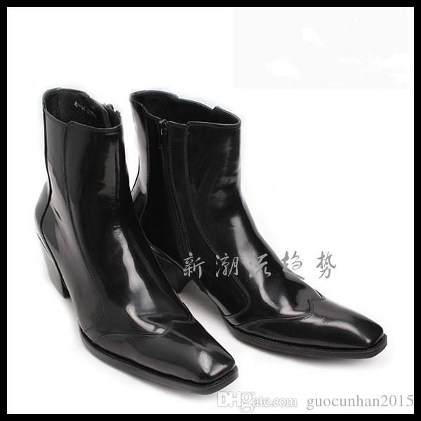 Yeni Tasarım Moda Çizmeler Popüler Hakiki Deri Erkek Botları Muhtasar Yarım Çizmeler Kore Açık Ayakkabı Adam Tıknaz Topuk Şarap Kırmızı Rugan