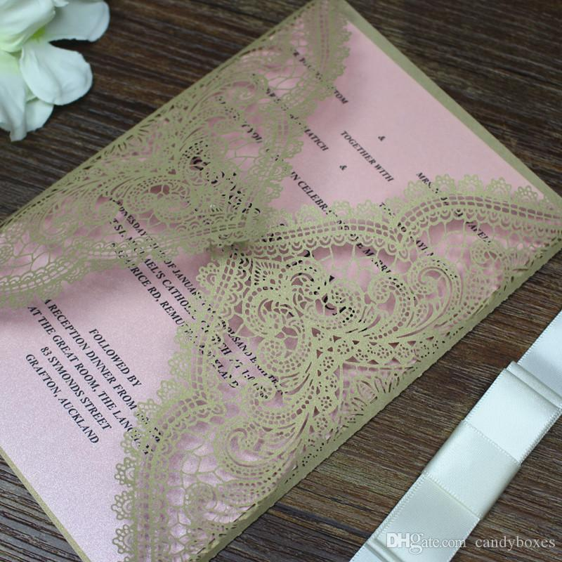 cbc1b15d4bb Sweet 16 Invitations Gold   Pink Lace Birthday Party Quinceanera  Thanksgiving Invitations Laser Cutting Pink Inner Sheet Custom Printing  Cheap Party ...