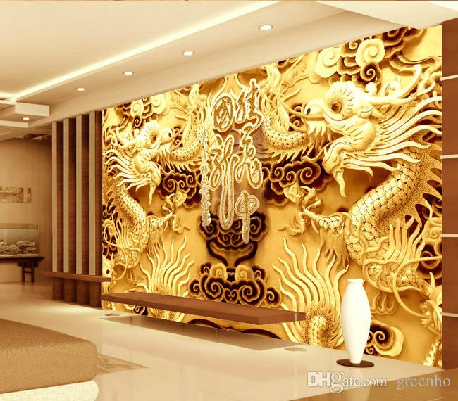 3d Woodcut View Gold Double Dragon Photo Wallpaper Wall Mural Art Giant  Wall Decor Poster Corridor Office Nursery Living Room Hd High Resolution  Widescreen ... Part 93