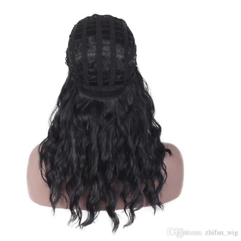 ZhiFan 2018 New African American Black Long Curly Hair Loose Wave Style Synthetic Wig For Black Lady