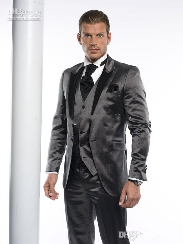 잘 생긴 남자 정장 패션 신년 복장 남자 복장 총 칼라 맞춤 신랑 턱시도 고전 신랑 턱시도 자켓 + 바지 + 조끼