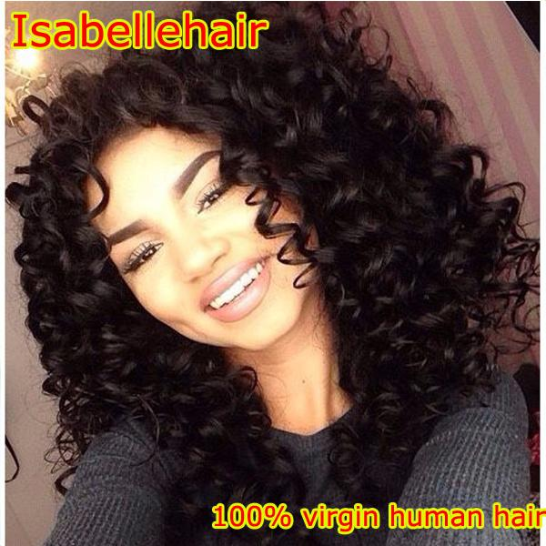 2016 Hot Deep Curly Lace Wig 100% Virgin Lace Front Wig Human Hair / Brazilian Full Lace Wigs Black Women With Baby Hair 8A