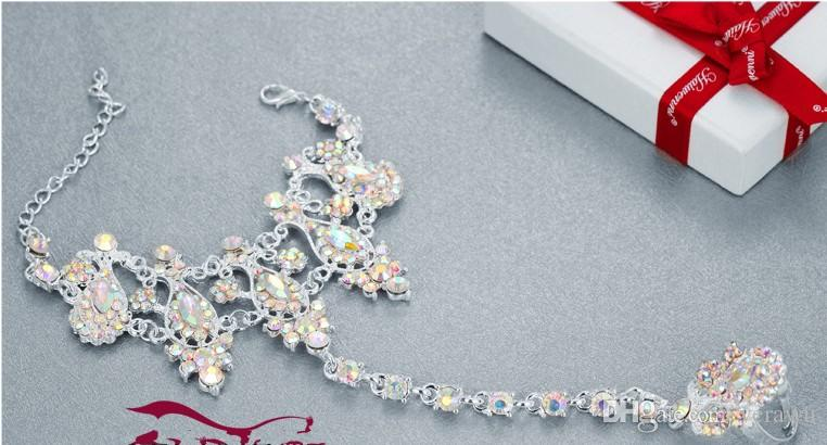 Shiny Crystal Rhinestone Bridal Bracelets 2016 New Style Wedding Romantic Bridal Jewelry Accessories Hand Chain With Ring
