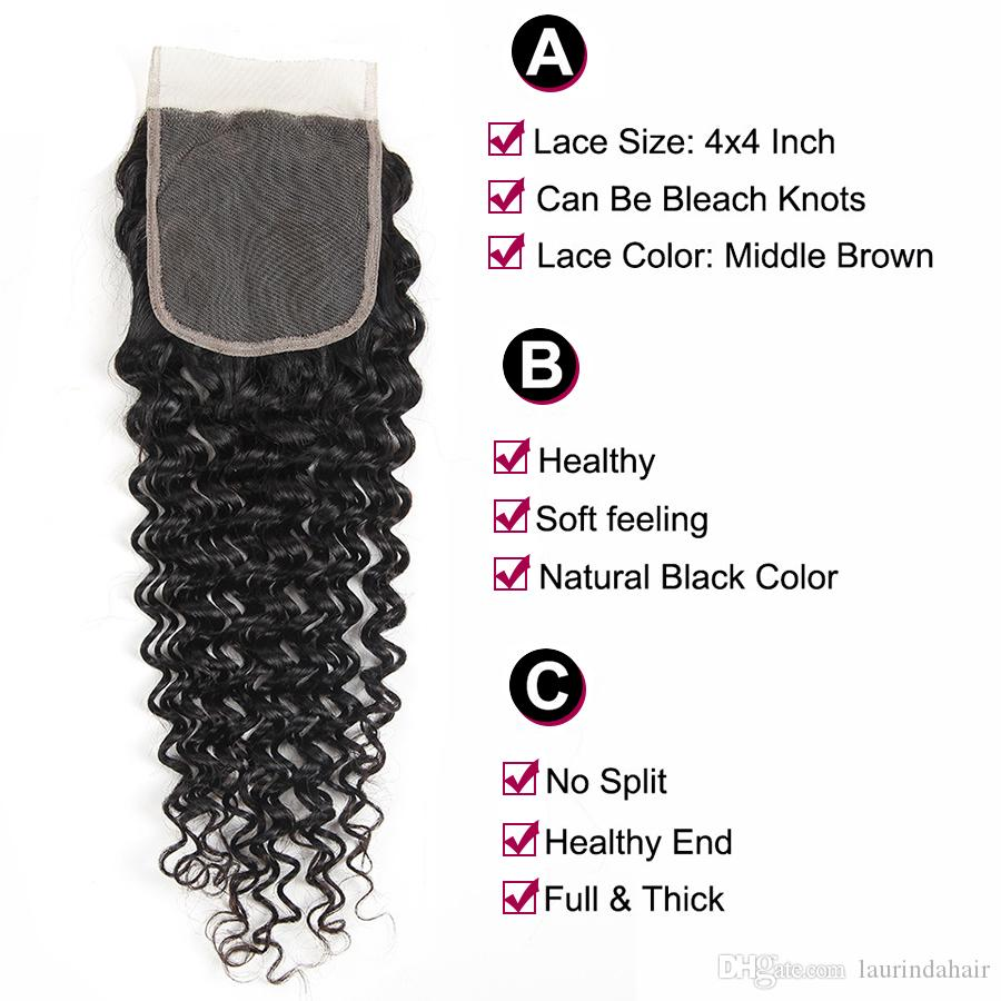 Brazilian Deep Wave Hair Weave 3Bundles With Closure 7A Unprocessed Brazilian Virgin Hair Deep Curly Wavy hair Extension