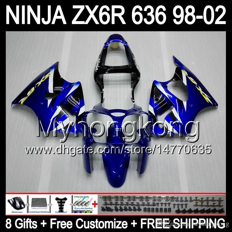 8Gifts + Body Blue Black för Kawasaki ZX6R 98-02 ZX636 ZX 636 MY32 ZX-6R ZX 6R 98 99 00 01 02 Blue Kit 1998 1999 2000 2001 2002 Fairing
