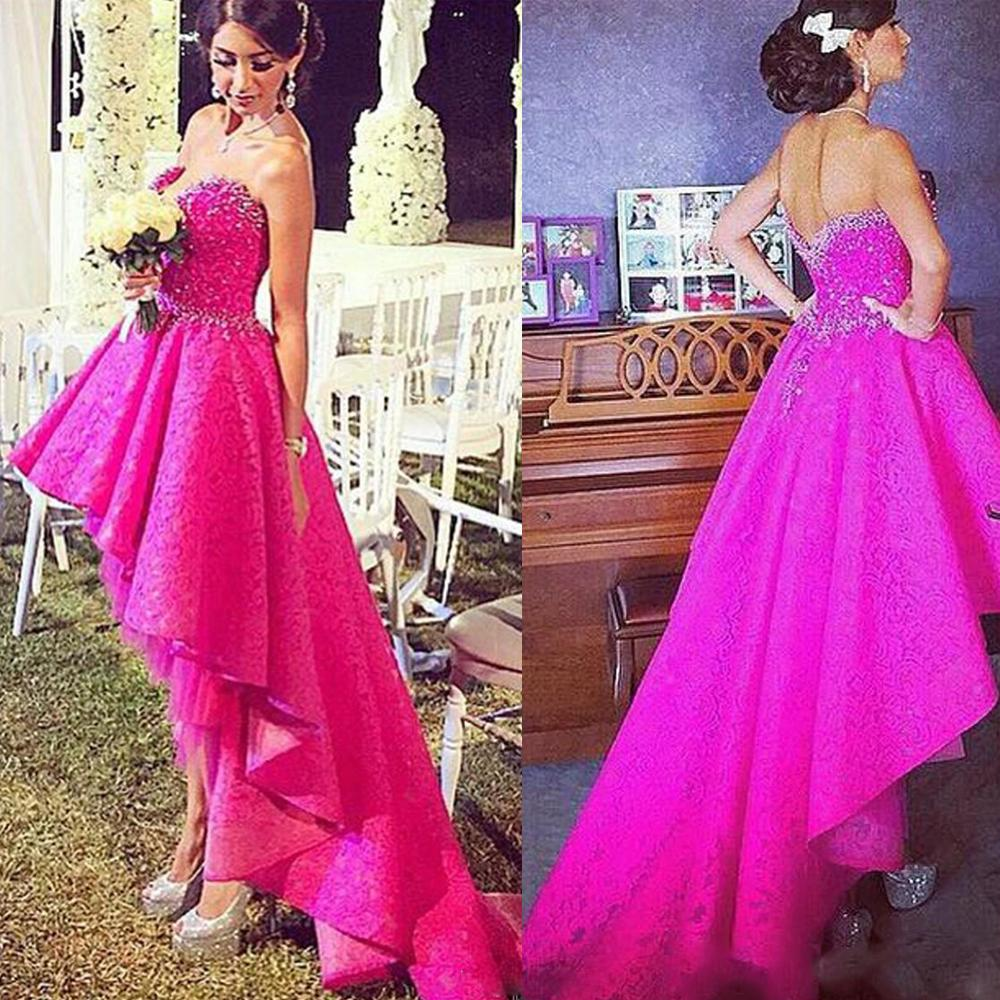 Fushia Evening Dresses Arabic Lace High Front And Low Back ...
