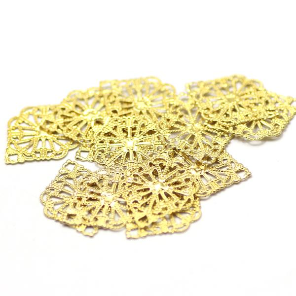 Hot21x15mm decorative diy jewelry components accessories connectors findings brass raw color hollow metal filigree drop shipping
