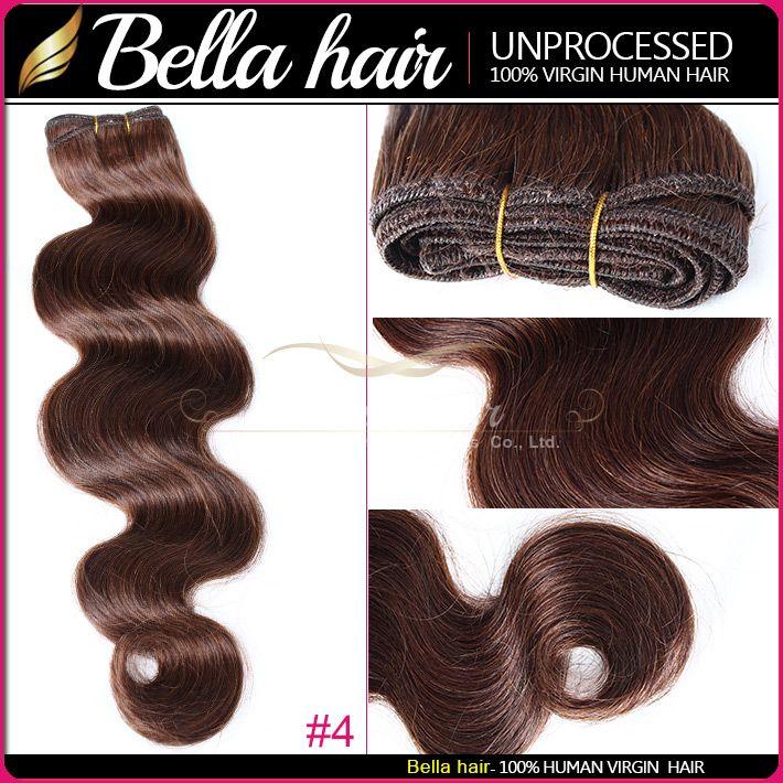 Fashion Hair 14-24inch Brazilian Hair Jet Black Dark Brown Human Hair Weft HairExtensions Grade 8A BellaHair