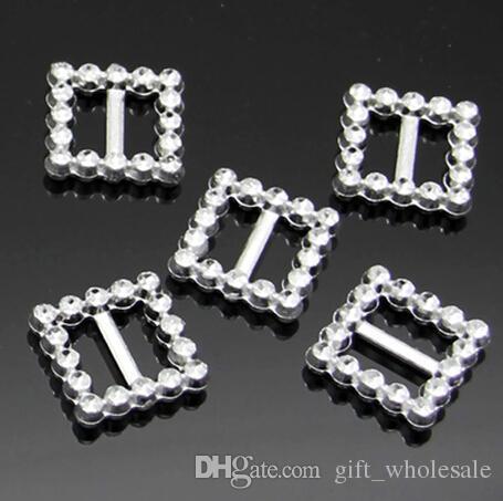 20-33mm Round Heart Square Plastic Rhinestone like Buckles Bar Invitation Ribbon Chair Card Tape Slider Sashes Bows Buckles Wedding Supplies
