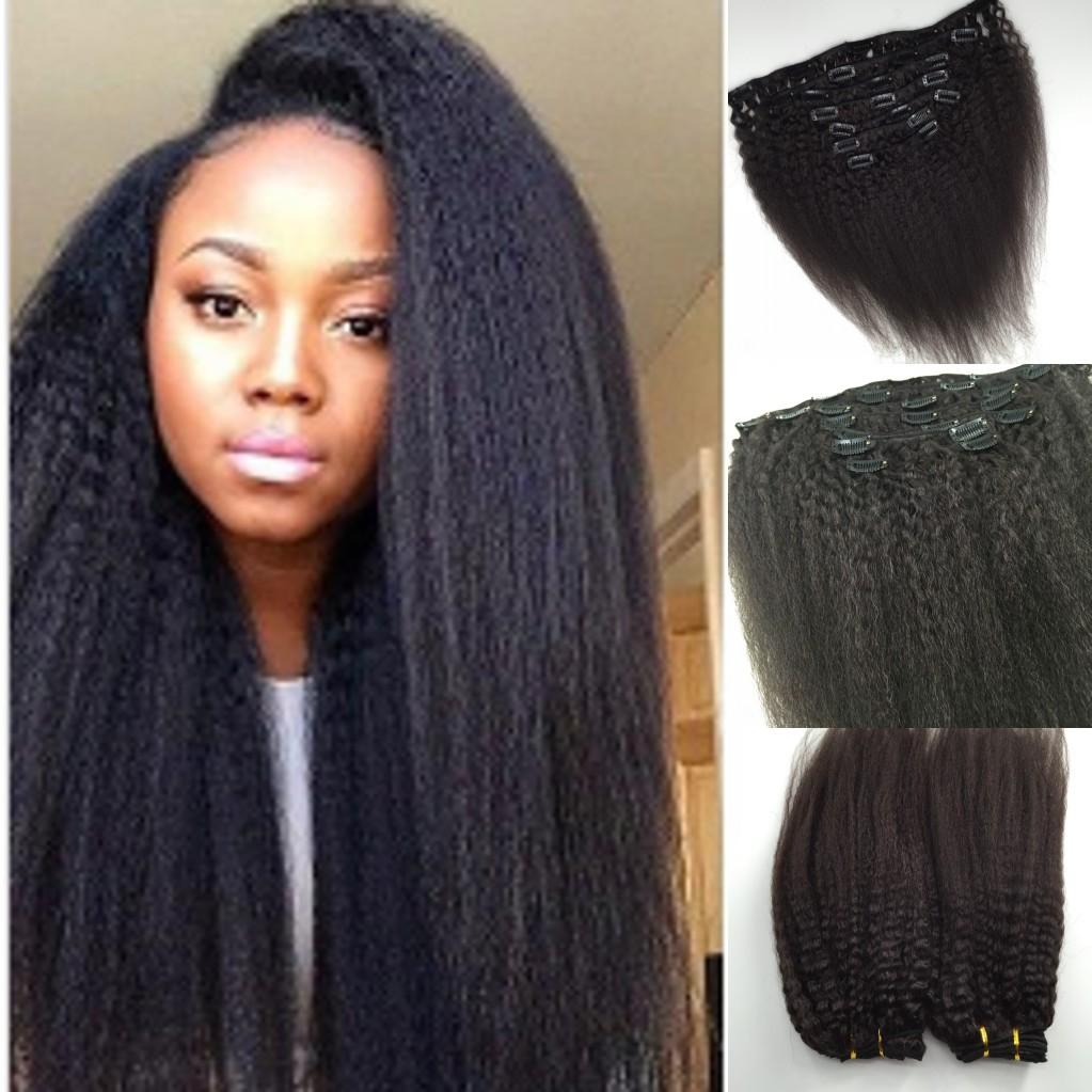 Kinky Straight Clip In Hair Extensions Coarse Yaki Clip In Human