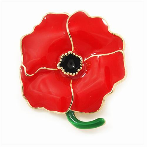 Red Enamel Poppy Flower Brooch Remembrance Souvenir UK Pin