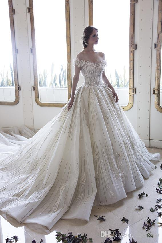Discount Ziad Nakad Bridal Dress Off The Shoulder 3d Floral Flower