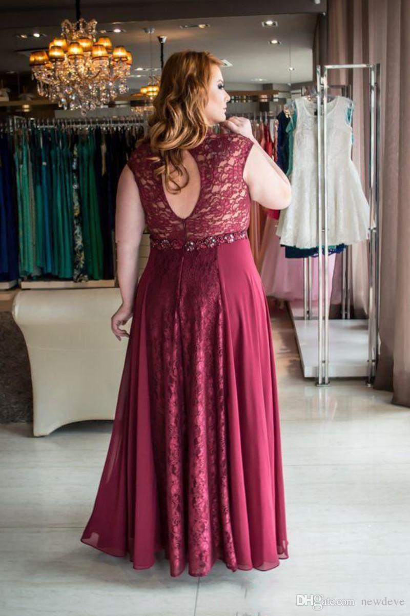 Plus size abito da sera abito rosso vino in pizzo vestidos de fiesta hollow back abiti da ballo donne grasse