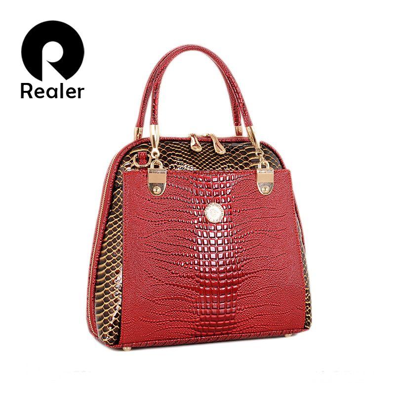 2f5fd3a964b4 Wholesale-New Fashion Women s Shell Bag High Quality Designer Embossed  Handbag Crocodile Pattern Leather Tote Bag Ladies Handbags Handbags Made in  India ...