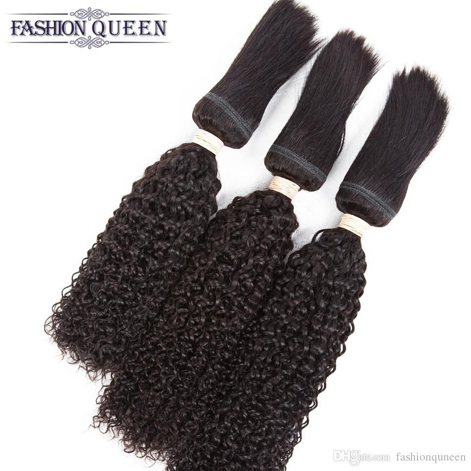 Kinky Curly Braid In Hair 3 Bundles Brazilian Virgin Hair 120g/pc Braid Human Hair Weave Jerry Curl Unprocessed Braid Extensions Natural